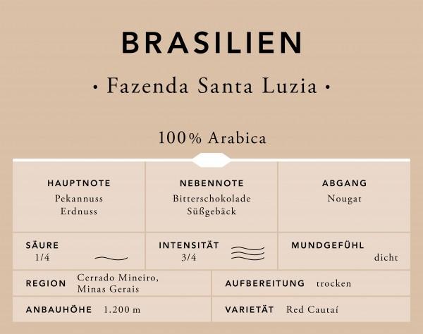 Speicherstadt Kaffee Brasilien Fazenda Santa Luzia ganze Bohne 500g