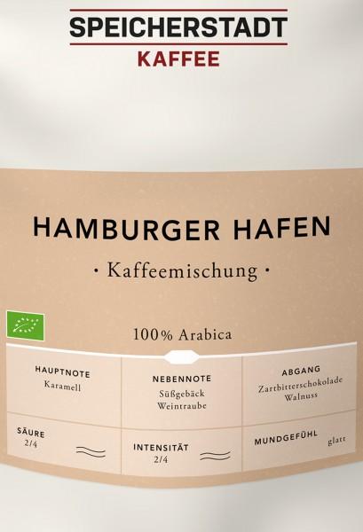 Hamburger Hafen Kaffeemischung Bio - 100% Arabica ganze Bohnen 500g